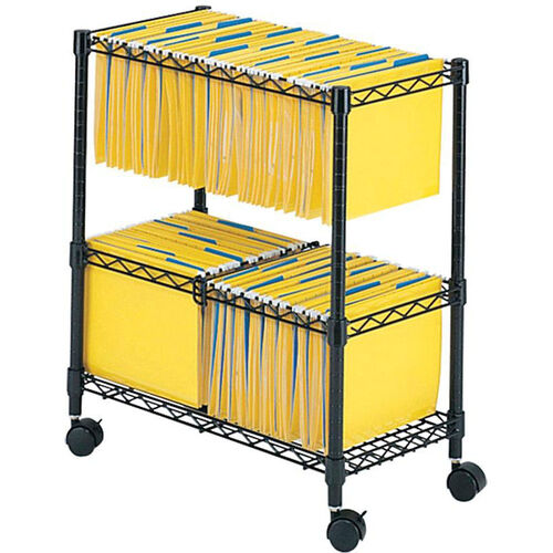 Two Tier Scratch Resistant Rolling File Cart Accommodates Letter and Legal Size Folders - Black