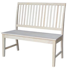 Mission Style Solid Parawood Armless Vertical Slat Back Bench - Unfinished