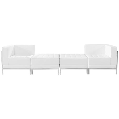 Our HERCULES Imagination Series Melrose White Leather 4 Piece Chair & Ottoman Set is on sale now.