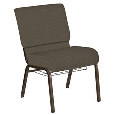 Embroidered 21''W Church Chair in Cobblestone Khaki Fabric with Book Rack - Gold Vein Frame