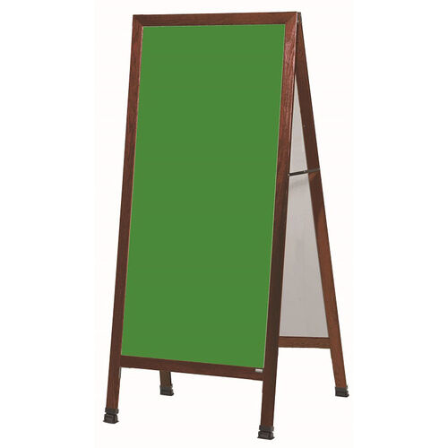 Our Extra Large A-Frame Sidewalk Board with Green Composition Chalkboard and Cherry Stain Finished Solid Red Oak Frame - 30