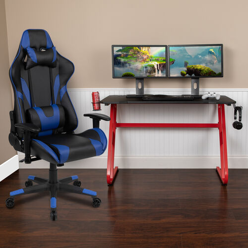 BlackArc Red Gaming Desk and Blue Reclining Gaming Chair Set with Cup Holder and Headphone Hook