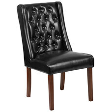 HERCULES Preston Series Black Leather Tufted Parsons Chair