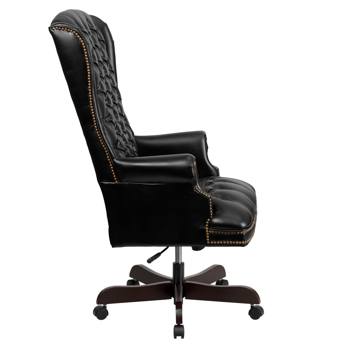 Tremendous High Back Traditional Fully Tufted Black Leather Executive Swivel Ergonomic Office Chair With Arms Download Free Architecture Designs Osuribritishbridgeorg