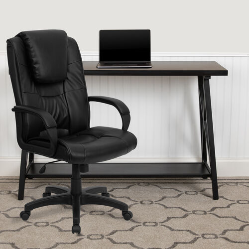 Our High Back Black LeatherSoft Executive Swivel Office Chair with Oversized Headrest and Arms is on sale now.