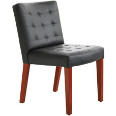 Quick Ship Leader Executive Square-Pattern Stitched Side Chair