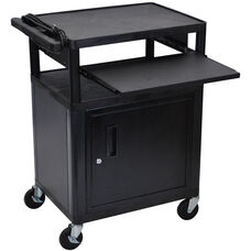 3 Shelf A/V Utility Cart with Locking Cabinet, Front Pullout Shelf, and 3 Outlet Surge - Black - 24