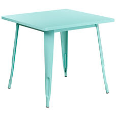 "Commercial Grade 31.5"" Square Mint Green Metal Indoor-Outdoor Table"
