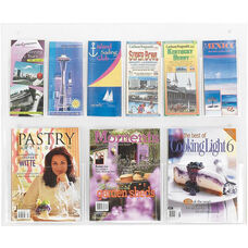 Clear2c™ Three Magazine and Six Pamphlet Display with Break Resistant Plastic Pockets - Clear