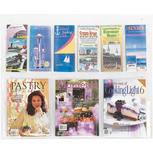 Our Clear2c™ Three Magazine and Six Pamphlet Display with Break Resistant Plastic Pockets - Clear is on sale now.
