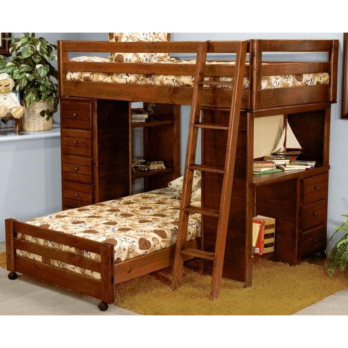 Chelsea Home Furniture Rustic Style Solid Pine Loft Bed With Chest And Desk Ends Twin Over
