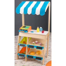 Kids Wooden Grocery Market Place Play Set with Storage Space and Interactive Cash Register