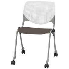 2300 KOOL Series Stacking Poly Silver Steel Frame Armless Chair with White Perforated Back and Casters - Brownstone Seat