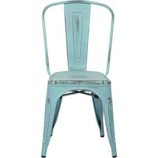 OSP Designs Bristow Stackable Armless Metal Chair - Set of 4 - Antique Sky Blue