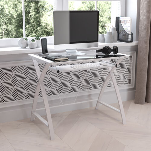 Clear Tempered Glass Computer Desk with White Pull-Out Keyboard Tray and White Crisscross Frame