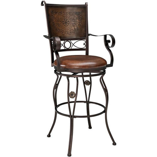Big and Tall Copper Stamped Back Barstool with Arms -Bronze Faux Leather