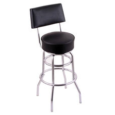 Classic 30'' Chrome Finish Swivel Barstool with Black Vinyl Seat and Back