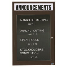 1 Door Indoor Illuminated Enclosed Directory Board with Header and Bronze Anodized Aluminum Frame - 48