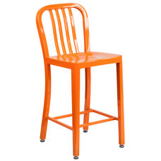 "Commercial Grade 24"" High Orange Metal Indoor-Outdoor Counter Height Stool with Vertical Slat Back"