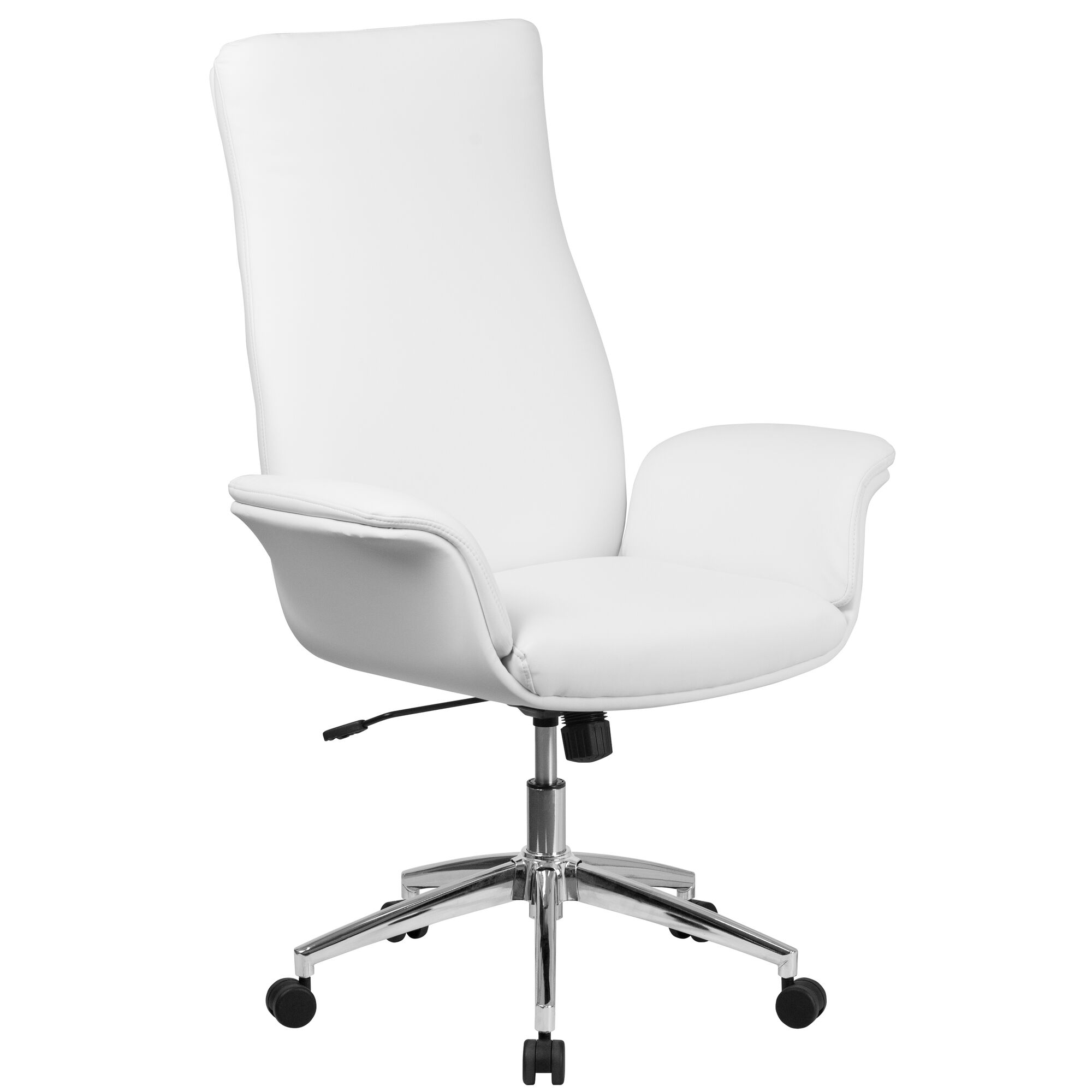 High Back White Leather Executive Swivel Office Chair with Flared Arms