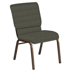 Embroidered 18.5''W Church Chair in Abbey Fern Fabric - Gold Vein Frame
