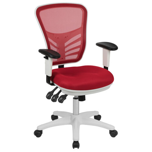 Our Mid-Back Red Mesh Multifunction Executive Swivel Ergonomic Office Chair with Adjustable Arms and White Frame is on sale now.