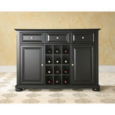 Buffet Server and Sideboard Cabinet with Wine Storage with Alexandria Style Feet - Black Finish