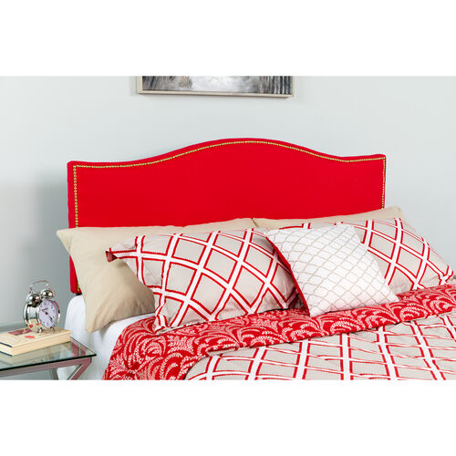 Our Lexington Upholstered King Size Headboard with Accent Nail Trim in Red Fabric is on sale now.