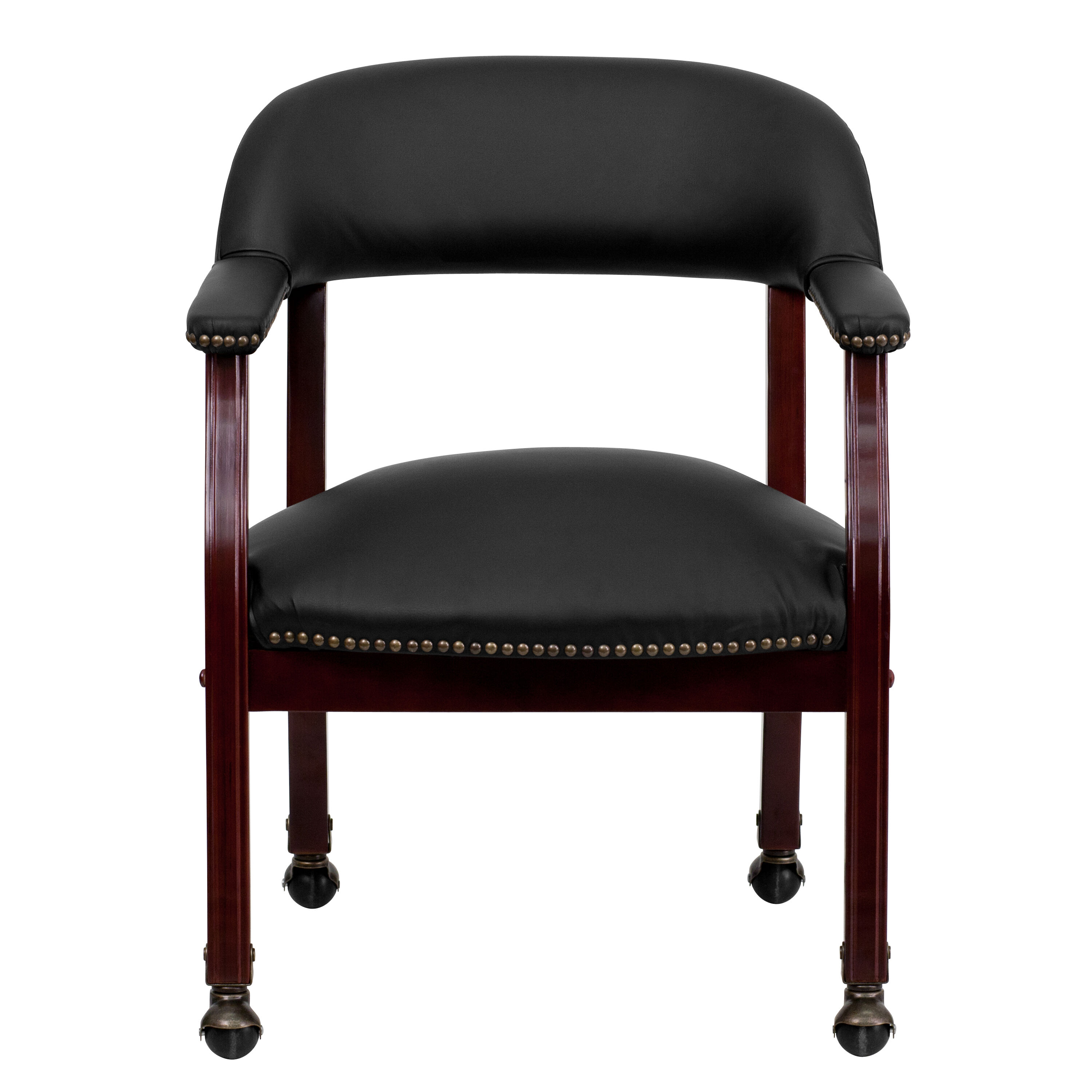 ... Our Black Top Grain Leather Conference Chair With Accent Nail Trim And  Casters Is On Sale