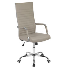 High Back Tan LeatherSoft Mid-Century Modern Ribbed Swivel Office Chair with Spring-Tilt Control and Arm Wraps