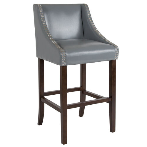 """Our Carmel Series 30"""" High Transitional Walnut Barstool with Accent Nail Trim in Light Gray LeatherSoft is on sale now."""