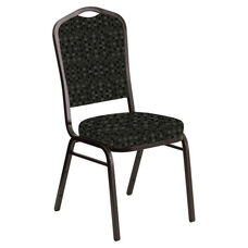 Crown Back Banquet Chair in Empire Pewter Fabric - Gold Vein Frame