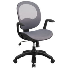 Mid-Back Transparent Gray Mesh Swivel Task Chair with Seat Slider, Ratchet Back and Arms