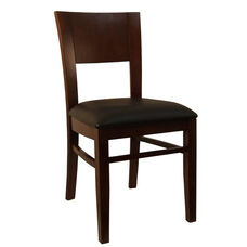 Dining Chair in Dark Brown Finish with Black Vinyl Seat