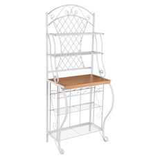 Trellis Fixed Shelf Bakers Rack with Oak Laminate Counter and Wine Bottle Holders - White