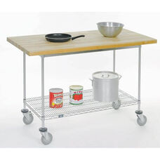 Mobile Maple Butcher Block Mobile Work Bench - 30