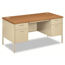 HON® Metro Classic Double Pedestal Desk - 60w x 30d x 29 1/2h - Harvest/Putty
