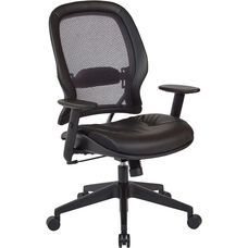 Space Executive High Back Bonded Leather Office Chair with Adjustable Angled Arms