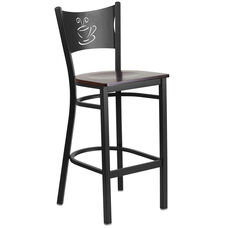 Black Coffee Back Metal Restaurant Barstool with Walnut Wood Seat