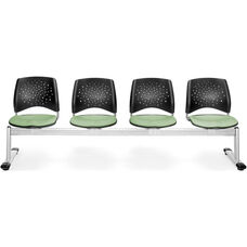 Stars 4-Beam Seating with 4 Fabric Seats - Sage Green