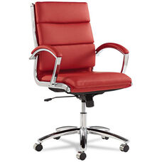 Alera® Neratoli Series Mid-Back Swivel/Tilt Chair - Red Leather - Chrome Frame