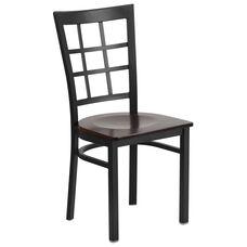 Black Window Back Metal Restaurant Chair with Walnut Wood Seat