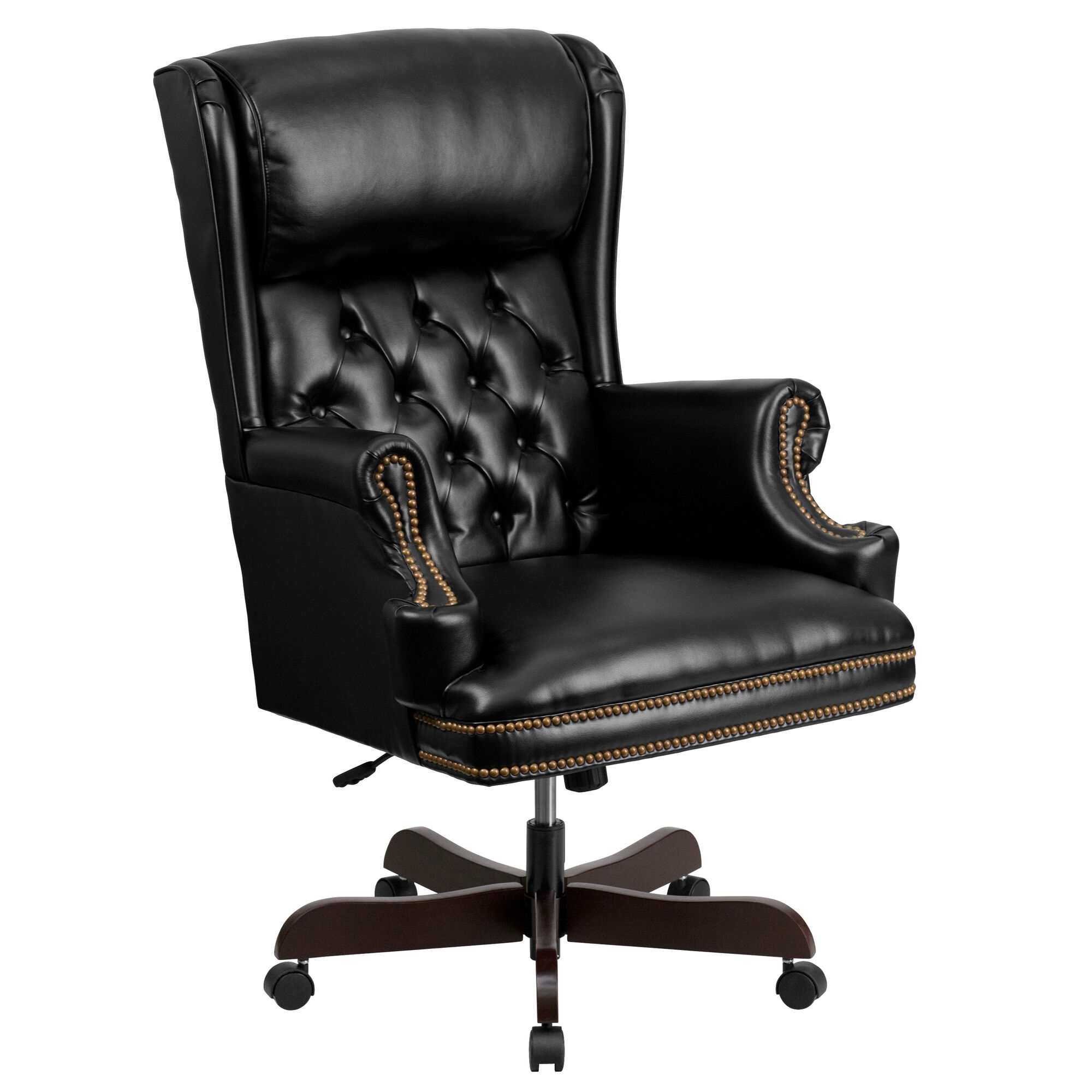 Tremendous High Back Traditional Tufted Black Leather Executive Ergonomic Office Chair With Oversized Headrest Nail Trim Arms Inzonedesignstudio Interior Chair Design Inzonedesignstudiocom