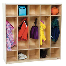 5-Section Locker with Two Coat Hooks in Each Section - Assembled - 48