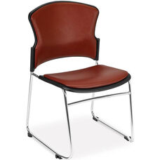 Multi-Use Stack Chair with Anti-Microbial and Anti-Bacterial Vinyl Seat and Back - Wine
