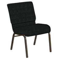 Embroidered 21''W Church Chair in Lancaster Pewter Fabric - Gold Vein Frame