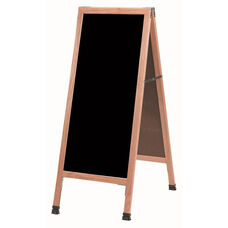 A-Frame Sidewalk Black Acrylic Board with Solid Red Oak Frame - 42