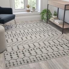 Geometric Bohemian Low Pile Rug - 5' x 7' -Ivory/Gray Polyester