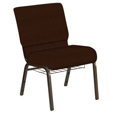21''W Church Chair in Old World Rustic Brown Fabric with Book Rack - Gold Vein Frame