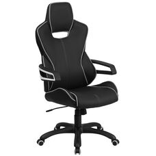 High Back Black Vinyl Executive Swivel Office Chair with White Trim and Arms